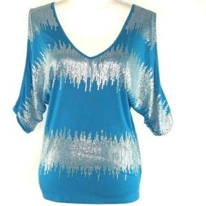 Bebe Womens Top Blouse Silver Sequins Size M